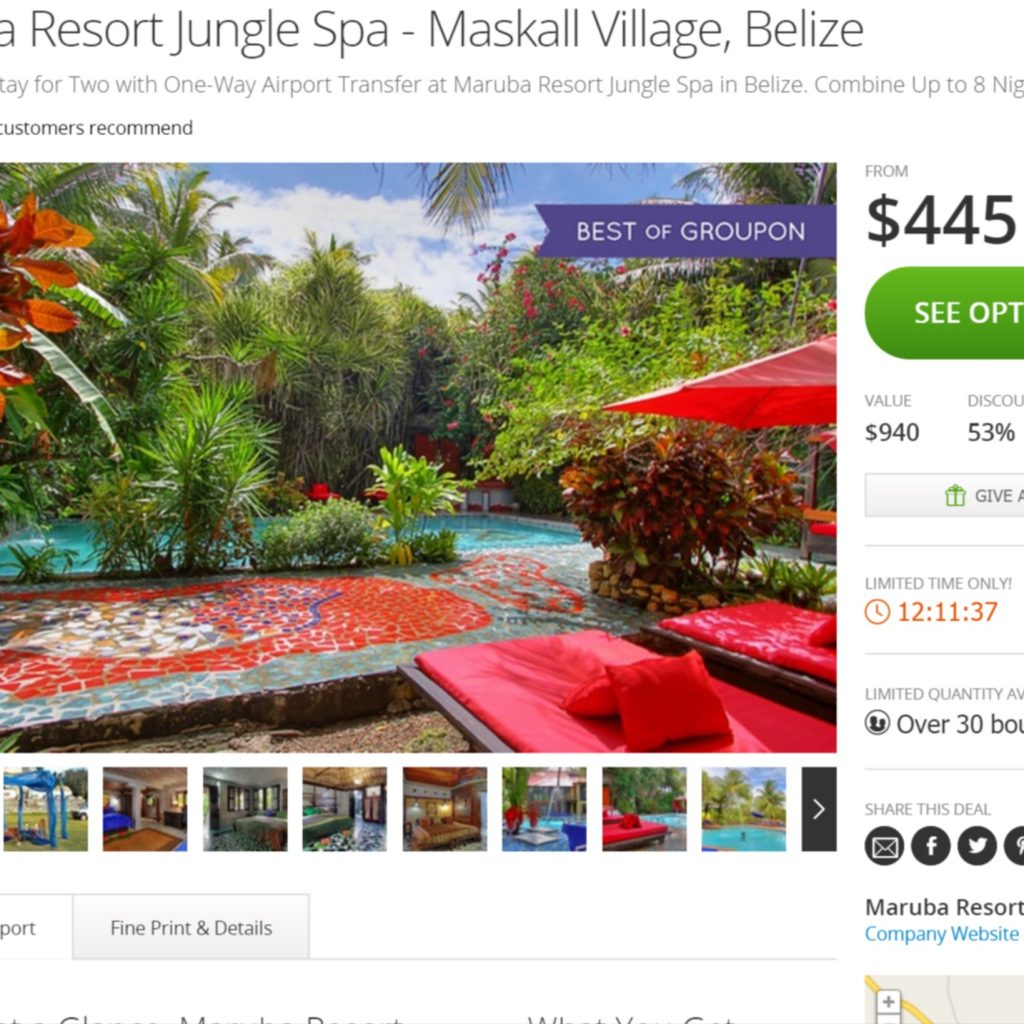 Belize Maruba Resort Jungle Spa Groupon Find